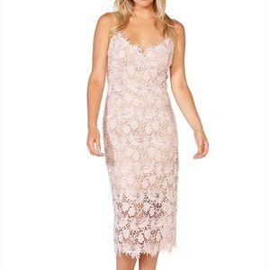 Bardot Light Pink Lace V Neck Cocktail Midi Dress